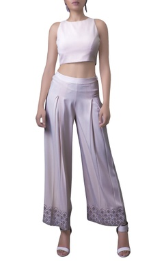 blush pink crop top with embroidered pants