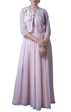 Blush pink anarkali dress with embroidered jacket