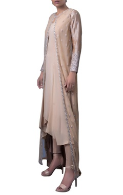 Soft caramel embroidered net jacket with dress