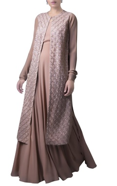 Zoraya Soft brown netted jacket and dress
