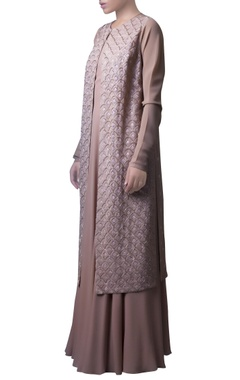 Soft brown netted jacket and dress