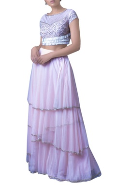 baby pink tasseled blouse with tiered skirt & dupatta