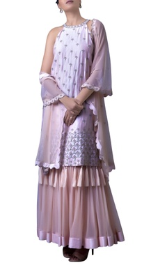 Champagne Pink Haltered double layered dress with dupatta