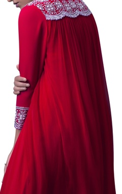 Red double shaded layered dress with dupatta