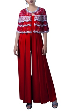 red embroidered bolero jacket with ljumpsuit