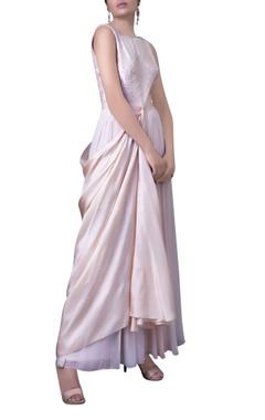 Blush pink draped panel dress