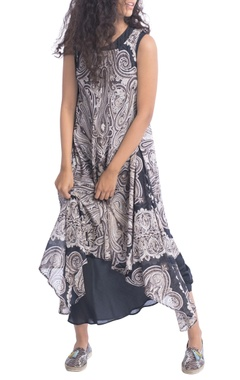 Black paisley print long tunic