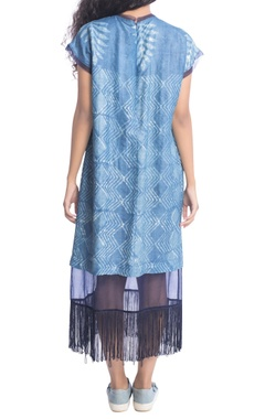 Blue batik dress with sheer panel