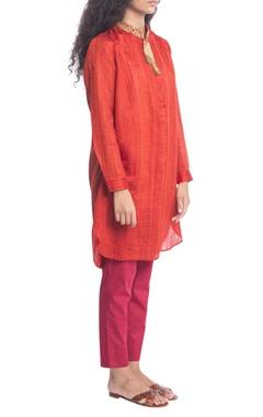 Orange raw silk tunic