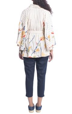 Grey & white kimono blouse