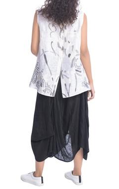 White printed linen blouse