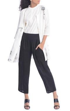 White floral jacket style tunic