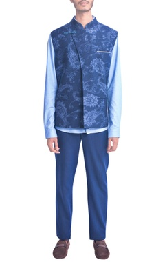 Navy blue self woven paisley design vest coat