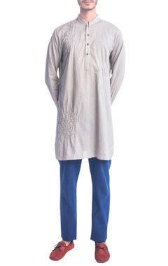 Khakhi thread embroidery kurta
