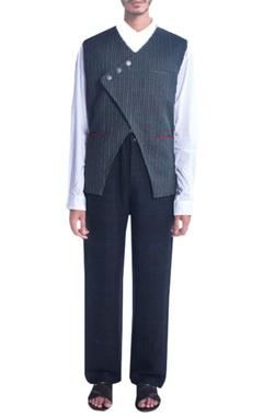 Black cross-over nehru jacket