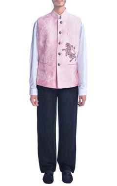 Baby pink embroidered nehru jacket