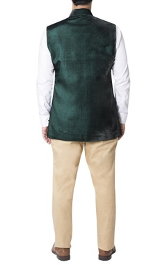 Green nehru jacket with gold detailed pockets