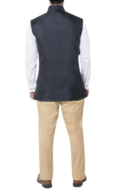 Blue pleated style nehru jacket