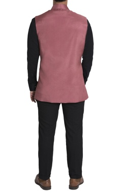Rose pink pleated nehru jacket