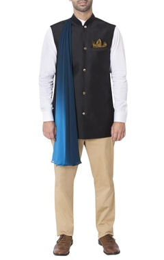 Black nehru jacket with pleated drape