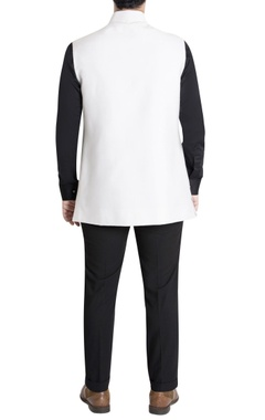 White nehru jacket with cowl drape