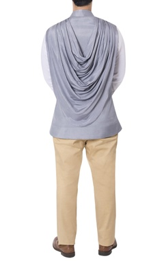 Grey nehru jacket with cowl drape
