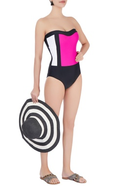 black  strapless one-piece swimsuit