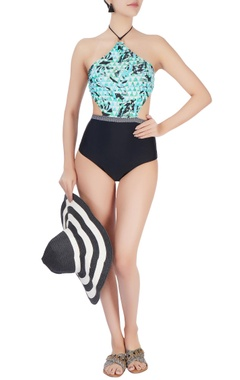 Green halter neck swimsuit