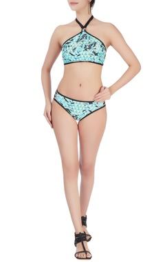 Green two piece halter neck swimsuit