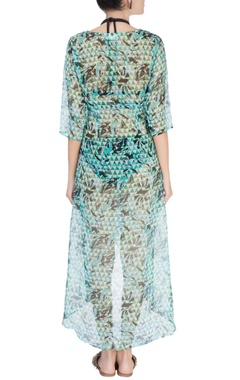 Green abstract printed kaftan