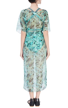 Green abstract printed kaftan with slits