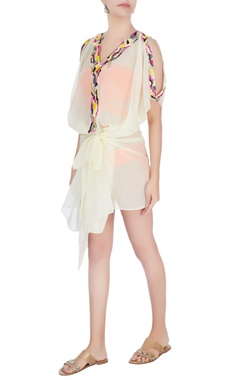 Off white embellished kaftan