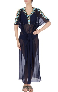Navy blue cold shoulder kaftan