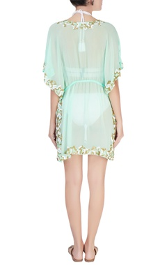 Sea green embellished kaftan