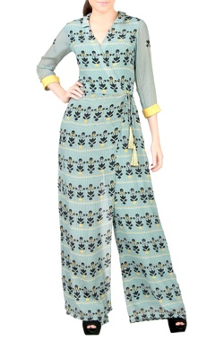 Blue printed wrap jumpsuit