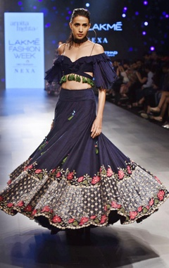 Navy blue floral lehenga with off shoulder blouse