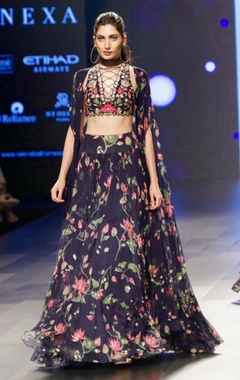 navy blue lehenga & crisscross blouse