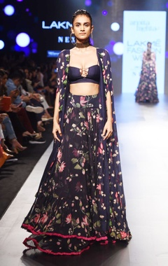 navy blue floral lehenga with cape