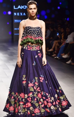 Navy blue floral lehenga with tassel blouse
