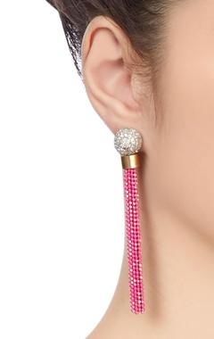 Silver & pink tassel earrings