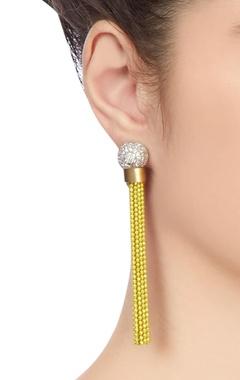 yellow & silver tassel earrings