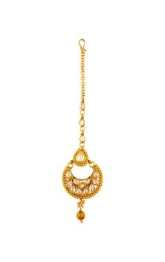 Gold plated kundan drop earring & maangtikka