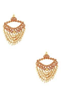 Gold plated pearl earrings & maangtikka