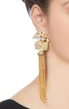 Gold tassel chain earrings