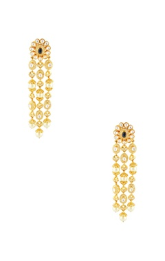 Gold plated earrings with pearl chain links