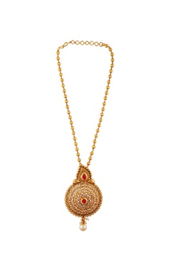 Gold plated circular pendant necklace & earrings