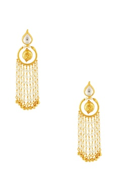 Gold plated pearl dangler earrings