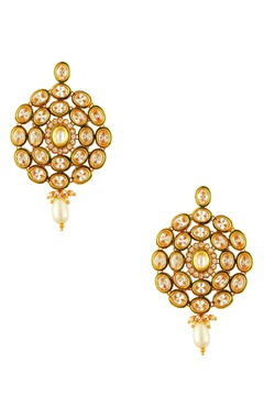 Gold plated drop earrings & maangtikka