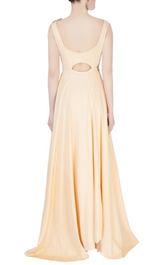 Peach draped printed gown