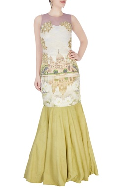 Aharin Green printed mermaid gown